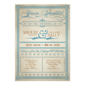 Azul del vintage y invitación del boda de Brown
