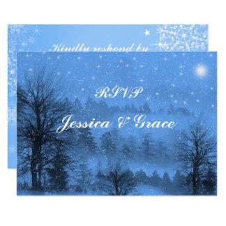 Azul, día de fiesta, tarjeta de la respuesta del invitación 8,9 x 12,7 cm