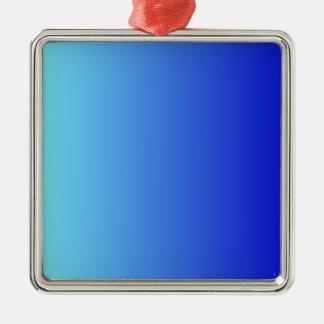 Azul eléctrico a la pendiente vertical azul media adorno cuadrado plateado