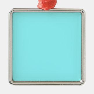 Azul eléctrico adorno cuadrado plateado