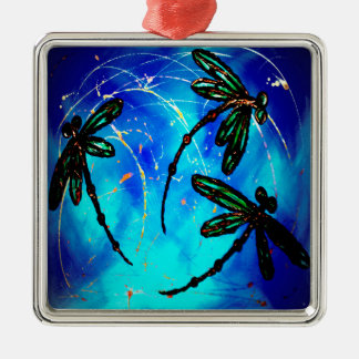 Azul eléctrico del revoloteo de la libélula adorno cuadrado plateado