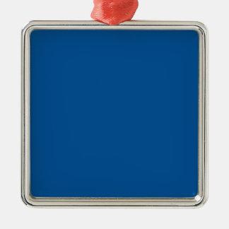 Azul eléctrico medio adorno cuadrado plateado