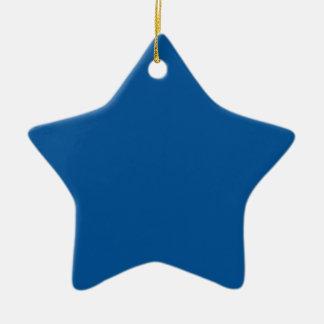 Azul eléctrico medio adorno de cerámica en forma de estrella