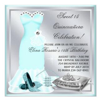 Azul elegante Quinceanera de Sivler y del trullo Invitación 13,3 Cm X 13,3cm