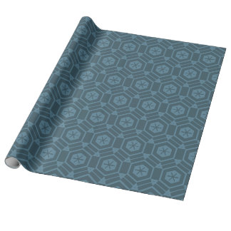 Azul en hexágono azul papel de regalo