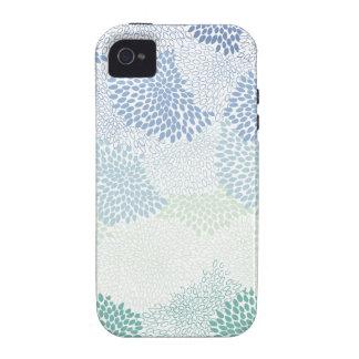 """Azul estallado """"flor"""" iPhone 4 fundas"""