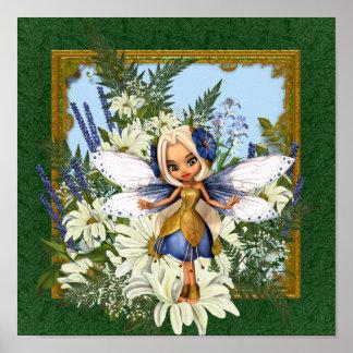 Azul Fae de la margarita del verano Poster