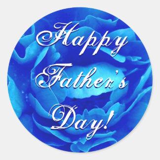 Azul feliz del día de padre subió pegatina redonda