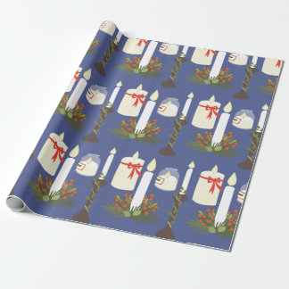 Azul festivo de la impresión de la vela papel de regalo