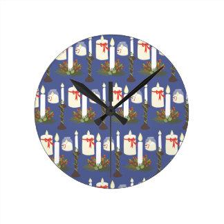 Azul festivo de la impresión de la vela reloj redondo mediano
