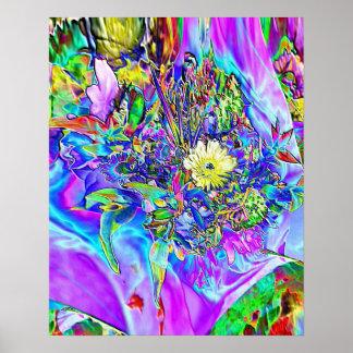 Azul fluorescente, lavanda y poster floral póster