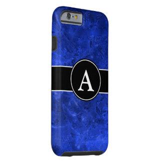 Azul fundido con inicial funda para iPhone 6 tough