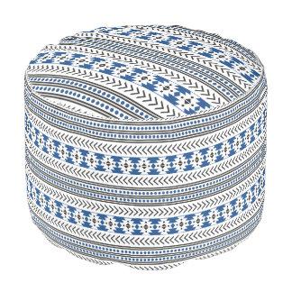 Azul geométrico del modelo de la impresión tribal puf