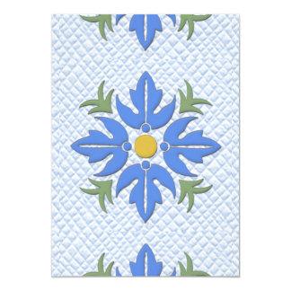Azul hawaiano del edredón de la flor del estilo invitación 12,7 x 17,8 cm