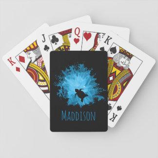 Azul hermoso del negro de la sombra de la tortuga baraja de cartas