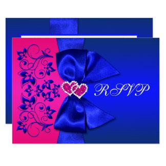 Azul IMPRESO de la CINTA, tarjeta floral rosada de