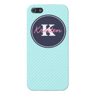 Azul, inicial, y nombre iPhone 5 protector