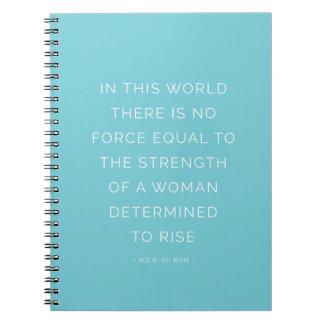 Azul inspirado del cuaderno de la cita de la mujer