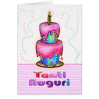 Azul italiano del rosa de la torta del feliz tarjeta de felicitación