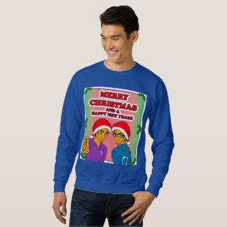 Azul joven para hombre de la camiseta del navidad