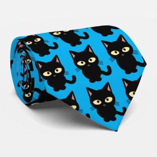 Azul lindo del dibujo animado del maullido del corbata
