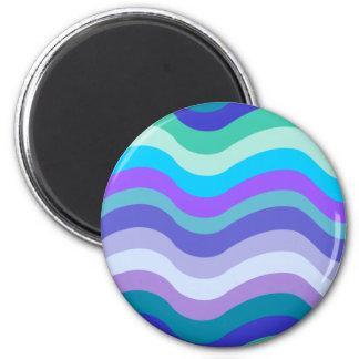 Azul maravilloso púrpura y líneas onduladas model imanes de nevera