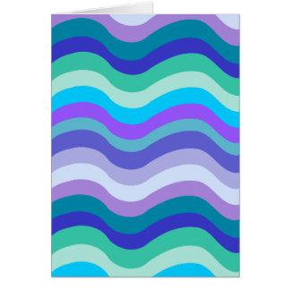 Azul maravilloso púrpura y líneas onduladas model tarjeton