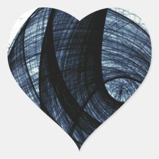 azul marino de humo y de peligro del wirl pegatina en forma de corazón