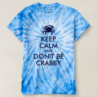 Azul marino guarde la calma y no sea malhumorado camiseta