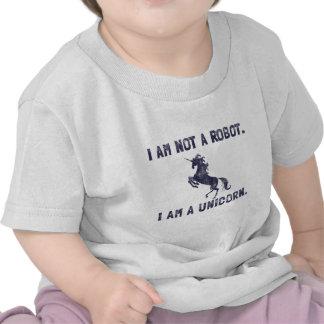 Azul marino retro del unicornio camiseta