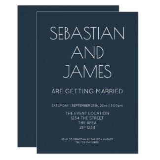 Azul marino simple y elegante con el tipo blanco invitación 12,7 x 17,8 cm