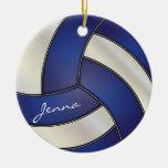 Azul marino y blanco personalice el voleibol ornamentos para reyes magos