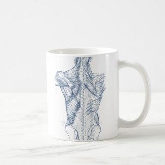 Azul médico de los músculos traseros del dibujo taza de café