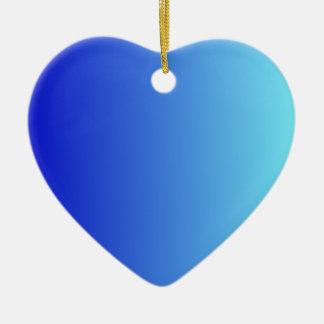 Azul medio a la pendiente vertical azul eléctrica adorno de cerámica en forma de corazón