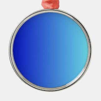 Azul medio a la pendiente vertical azul eléctrica adorno redondo plateado