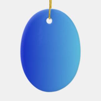 Azul medio a la pendiente vertical azul eléctrica adorno ovalado de cerámica
