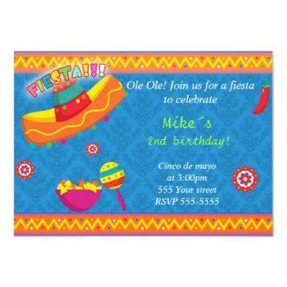 Azul mexicano del cumpleaños del muchacho de la invitación 12,7 x 17,8 cm