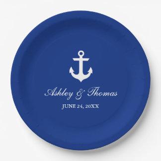 "Azul náutico 9"" del ancla del boda plato de papel"