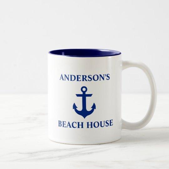 Azul náutico del ancla de la casa de playa del taza de café de dos colores