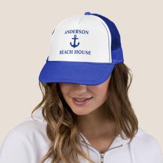 Azul náutico del ancla del apellido de la casa de gorra de camionero