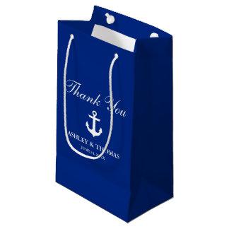 Azul náutico del ancla del boda bolsa de regalo pequeña