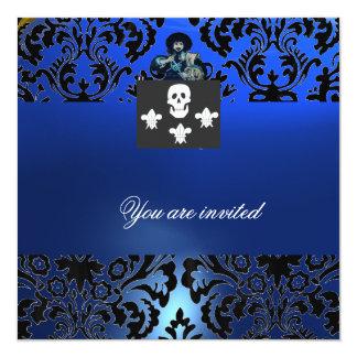 Azul NEGRO del MONOGRAMA del CRÁNEO y de la FLOR Invitación 13,3 Cm X 13,3cm