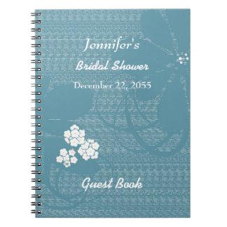 Azul nupcial del libro de visitas de la ducha, cuaderno