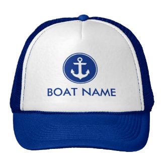 Azul personalizado ancla azul náutica del gorra