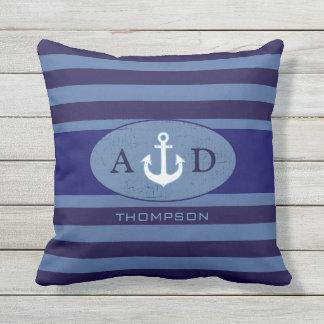 azul personalizado ancla náutica del playa-house cojín