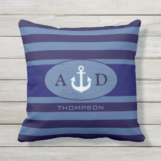 azul personalizado ancla náutica del playa-house cojín de exterior