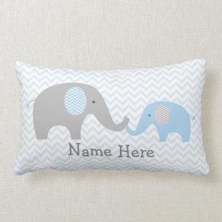Azul personalizado elefante lindo y gris de la cojín lumbar