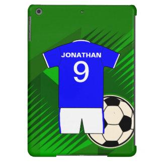 Azul personalizado y blanco del jersey de fútbol funda iPad air