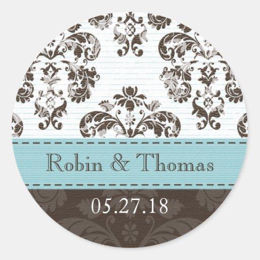Azul personalizado y boda del damasco de Brown Pegatinas Redondas