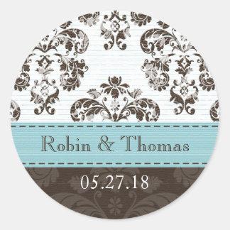 Azul personalizado y boda del damasco de Brown Pegatina Redonda